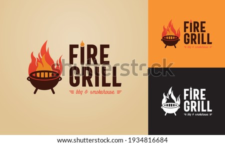 fire and grill illustrated logo template