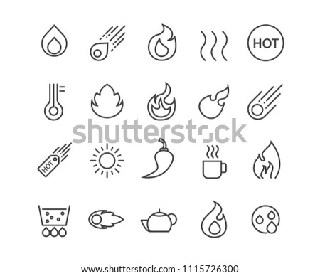 Fire and Hot icons set,Vector