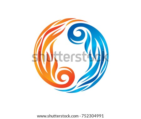 Fire and ice Flame Yin Yang Symbol