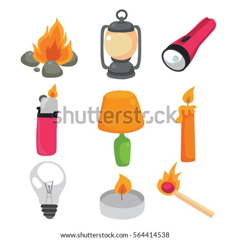fire and light icon set