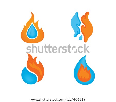 Fire and water design elements for logo designing.