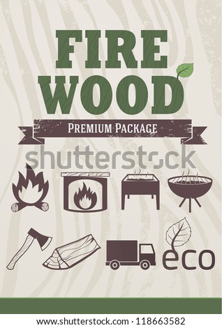fire and wood concept  retro