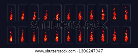 Fire animation sprite sheet or animation frames icons. Use in game, motion graphic, animation or something else. Vector illustration.