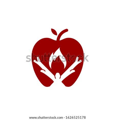 fire apple logo design vector