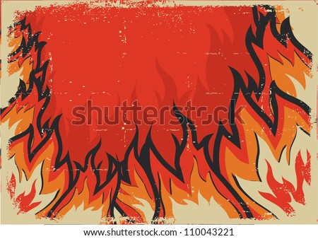 Fire background .Vector grunge image for design