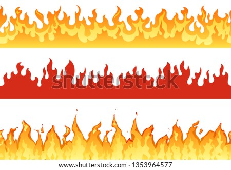 Fire banner. Flame border blazing silhouette or eternal flames. Hell flaming banners, fired fiery burn wildfire or flammable hot ignite borders isolated illustration set