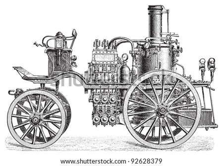 Fire brigade car / vintage illustration from Meyers Konversations-Lexikon 1897