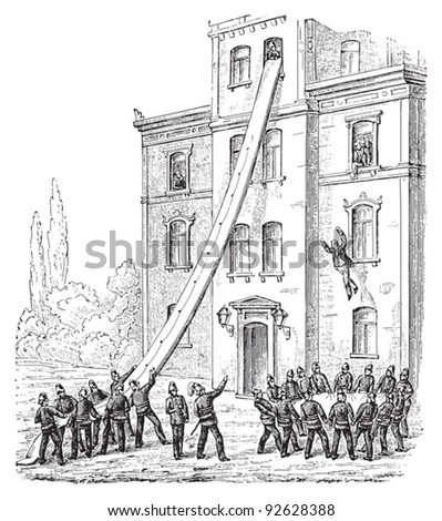 Fire brigade / vintage illustration from Meyers Konversations-Lexikon 1897
