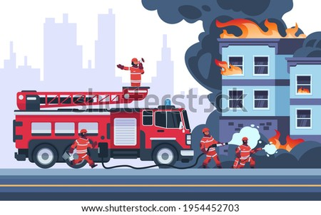 Fire building. Firemen extinguish burning house. Emergency workers put out flame. Firefighters wearing professional uniform. Vehicle with stair and hose for water. Vector rescue service