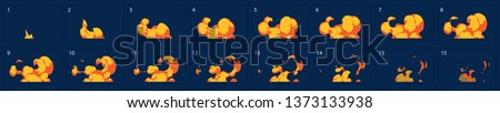 Fire burst explosion animation. Fire explode effect for animation, sprite sheet for game, cartoon or animation burst explosion.-vector