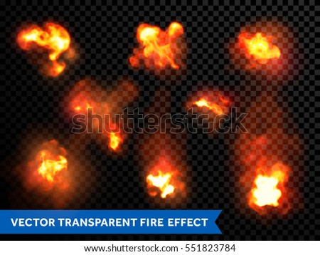 Fire bursts and explosions, flaming and burning wildfire, campfire or fireplace flames and outbursts. Vector isolated set on transparent background