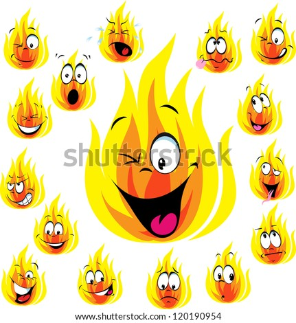 fire cartoon with many expressions isolated on white background
