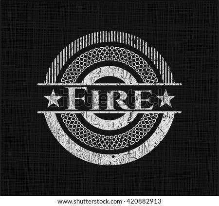 Fire chalk emblem, retro style, chalk or chalkboard texture