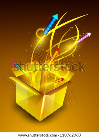 Fire crackers coming out from a big box on beautiful modern abstract background. EPS 10.