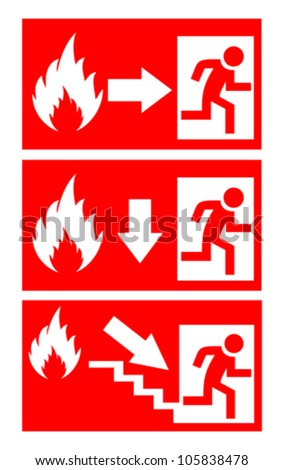 Fire danger signs set, vector illustration