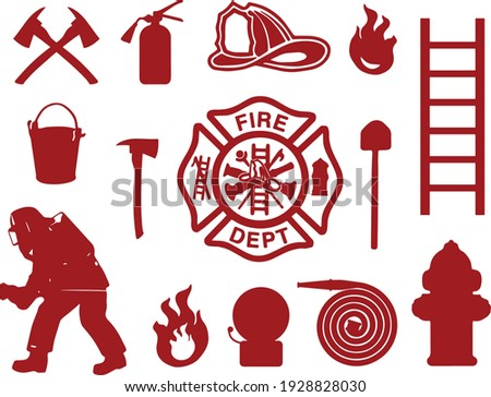 Fire department equipment, firefighter in uniform, mask, helmet. Fire extinguisher, fire-truck, steel ladder, gas mask, water hydrant, alarm siren, bucket, helmet, pickaxe, shovel, axe