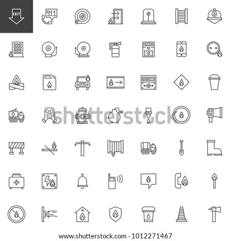 fire department line icons set