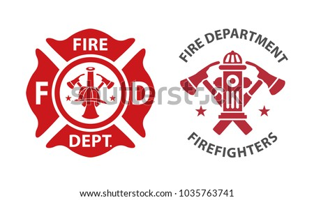 fire department logos  set of