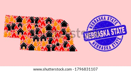 Fire disaster and houses collage Nebraska State map and Nebraska State rubber seal. Vector collage Nebraska State map is constructed from scattered burning houses. Photo stock ©