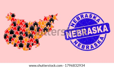 Fire disaster and property collage Badajoz Province map and Nebraska rubber stamp. Vector mosaic Badajoz Province map is constructed with scattered burning cities.