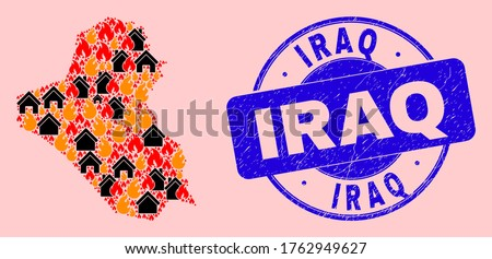 Fire disaster and realty collage Iraq map and Iraq scratched seal. Vector collage Iraq map is designed from random burning cities. Iraq map collage is formed for fire guard posters.
