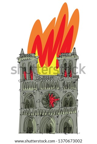 Fire disaster of famous Paris gothic cathedral Noter Dame. Caricature. Drawing.