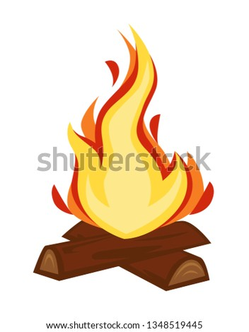 Fire discovery campfire or bonfire wood and flame stone age vector isolated firewood warmth source camping or hiking tourism sparkle cave heating primitive cooker humanity evolution and development