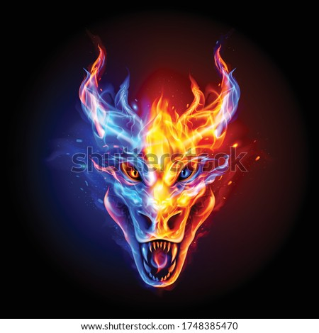 fire dragon head in blue and