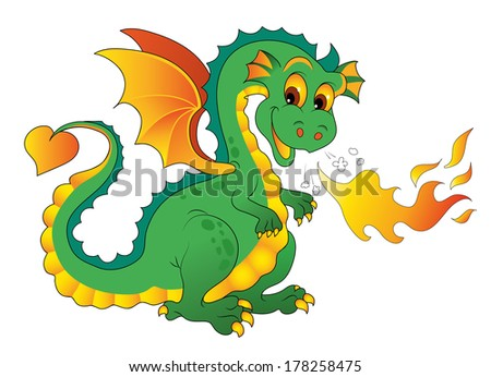 fire dragon isolated on white