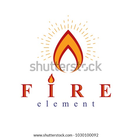 Fire element abstract logo for use as petrol corporate emblem. Oil and gas vector business conceptual symbol.