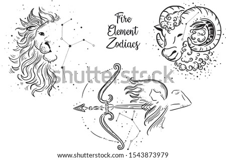 Fire Element Zodiac Signs. Leo Zodiac, Sagittarius Zodiac, Aries Zodiac. Black and White line work.