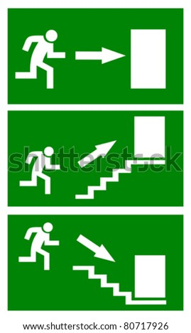 Fire emergency exit signs, vector illustration