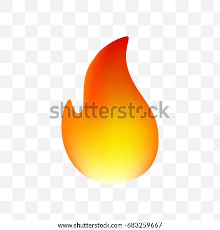 Fire Emoticon on Transparent Background. Isolated Vector Illustration