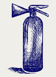 Fire extinguisher. Doodle style