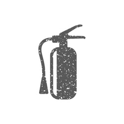 Fire extinguisher icon in grunge texture. Vintage style vector illustration.