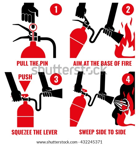 Fire extinguisher instruction vector labels set. Instruction extinguisher and protection of fire with extinguisher illustration