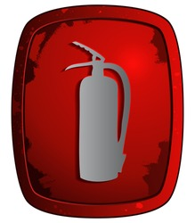 Fire Extinguisher on Red Grunge Plate, Vector Illustration.