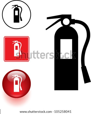 fire extinguisher symbol sign and button - stock vector