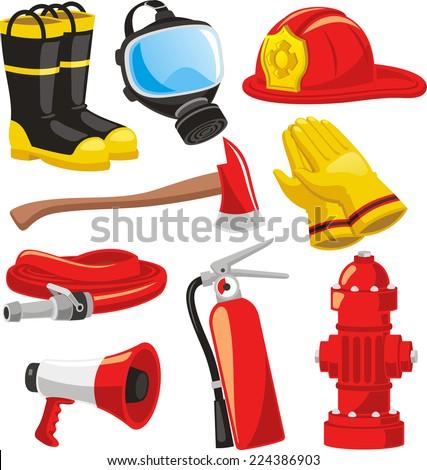 Fire-fighter elements set collection, including boots, mask, helmet, axe, gloves, hose, fire extinguisher, megaphone vector illustration.