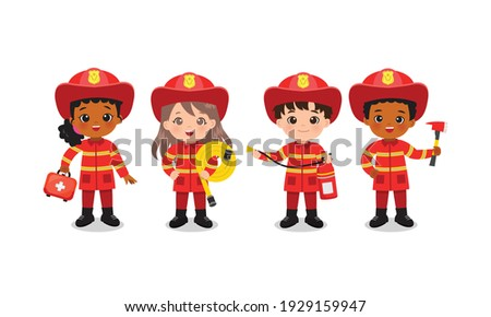 Fire fighter team pose with safety tools. Boys and girls in cute red uniform. Flat vector cartoon design isolated