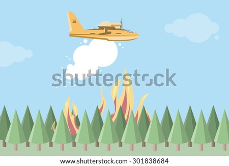 fire fighting airplane dropping