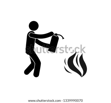 fire fighting icon, pictogram man with fire extinguisher puts out fire, isolated symbol Stockfoto ©