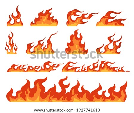 Fire flame. Cartoon bonfire and fiery borders decorative elements. Isolated bright red and orange blaze, warning signs of flammable objects. Colorful templates for burning building, vector hot set Foto stock ©