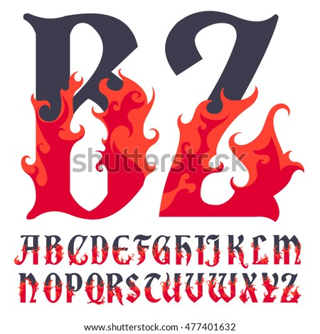 fire flame font caps  hot