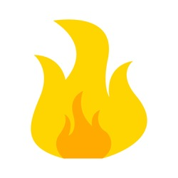 Fire flame icon, campfire sign - hot burn element, sign and symbol