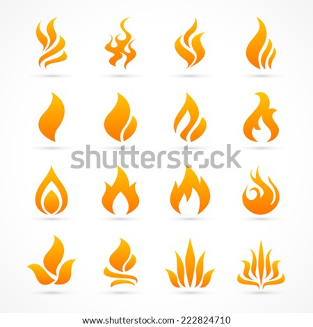 fire flame icon set in vector