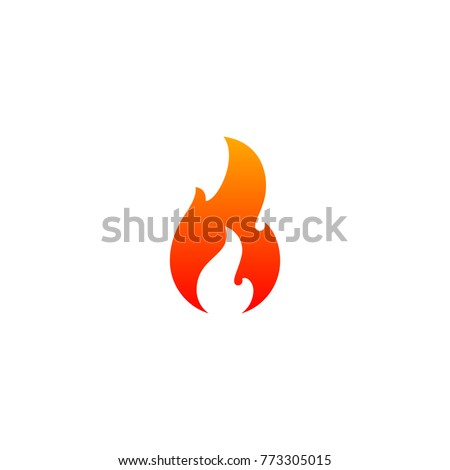 Fire flame icon vector template. Hot red orange fire flame for caution hot or spicy food. Vector logo symbol for oil, gas and energy concept flat design
