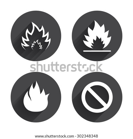 Fire Flame Icons Prohibition Stop Sign Symbol Circles Buttons With