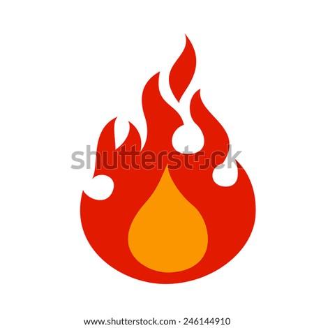 fire flame logo  cartoon flat