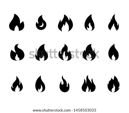 Fire flame logo vector illustration design template. Fire flame icon. Black icon isolated on white background. Fire flame silhouette. Simple icon.